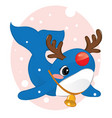 christmas card with cute bawhale in deer vector image vector image