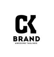 ck letter strong logo vector image vector image