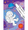 Coloring Book Of Astronaut And Spaceship vector image