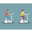 Couple on Exercise Bike vector image vector image