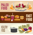 flat design banners with paleo food fast food vector image