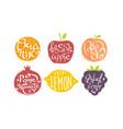 fresh fruits prints set orange apple peach vector image vector image