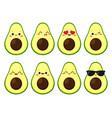 funny cartoon avocado character emoji vector image