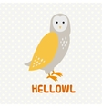 Greeting card with cute cartoon owl vector image vector image