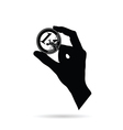 hand with euro black vector image vector image