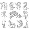 heraldic sea monsters vector image vector image