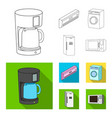 home appliances and equipment outlineflat icons vector image