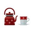 Kettle and mug for tea flat vector image