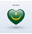 Love Mauritania symbol Heart flag icon vector image vector image