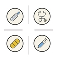 Medical equipment color icons set vector image vector image
