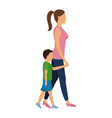 mother and her son walking together vector image