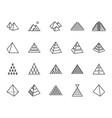 pyramid flat line icon set egyptian monument vector image