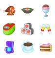 reserve cafe icons set cartoon style vector image vector image