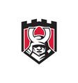 Samurai Warrior Mask Helmet Shield Retro vector image vector image