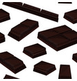 seamless background with piece black chocolate vector image