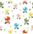 seamless pattern with baby carriage vector image
