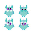 set of of a cute little blue vector image
