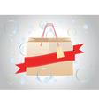 Shopping bag with ribbon2 vector image vector image