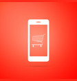 shopping cart on screen smartphone icon vector image