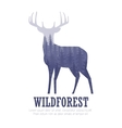 Silhouette of a deer with pine forest blue and vector image vector image