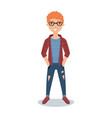 smiling redheaded guy student in glasses vector image vector image