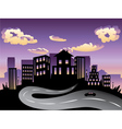 Sunset City and Road Silhouette4 vector image vector image