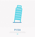 tower of pisa thin line icon vector image