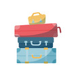 travel concept in flat style - stack vintages vector image