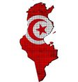 Tunisia map with flag inside vector image vector image