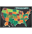 USA Map Vintage Blackboard 2D vector image