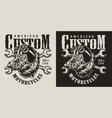 vintage custom motorcycle monochrome label vector image vector image