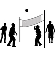 volleyball game silhouette vector image vector image