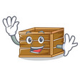 Waving crate character cartoon style