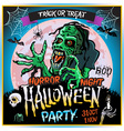Zombie sneaks up on the background of a full moon vector image vector image