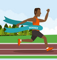 colorful poster keep running with man athlete afro vector image