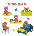 set of isolated teddy bear vector image