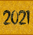2021 new year on golden background vector image
