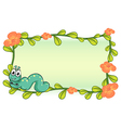 A caterpillar and a flower plant frame vector image vector image