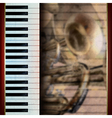 abstract grunge brown background with piano and vector image vector image