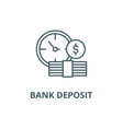 bank deposit line icon bank deposit vector image vector image