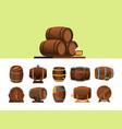 barrels wooden cartoon barrel for alcohol vector image