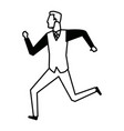 businessman running success achievement winner vector image