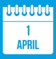calendar april 1 icon white vector image