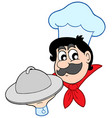 cartoon chef with dish vector image vector image