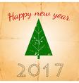 christmas card with stylish christmas tree vector image vector image