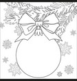 christmas theme black and white poster with tree vector image vector image