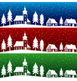 Christmas village with church seamless pattern vector image