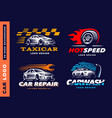 collection logos car taxi service wash vector image