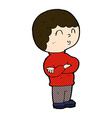 comic cartoon boy with folded arms vector image vector image