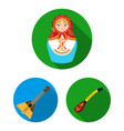country russia travel flat icons in set
